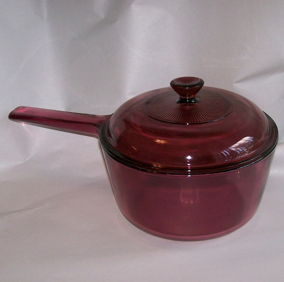 Corning Visions Ware Cranberry 1.5 Qt By FadingFiftiesVintage