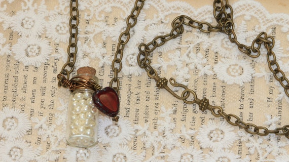 Romantic Pearl & Heart Mini Bottle Necklace - Picasso Glass - Vintage Inspired - Pearls of Wisdom - BOHO - Victorian Style - Steampunk