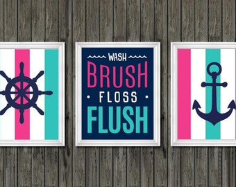 Nautical Bathroom Decor, Girls Bathroom Decor, Pink And Navy Blue Bathroom,  Wash,