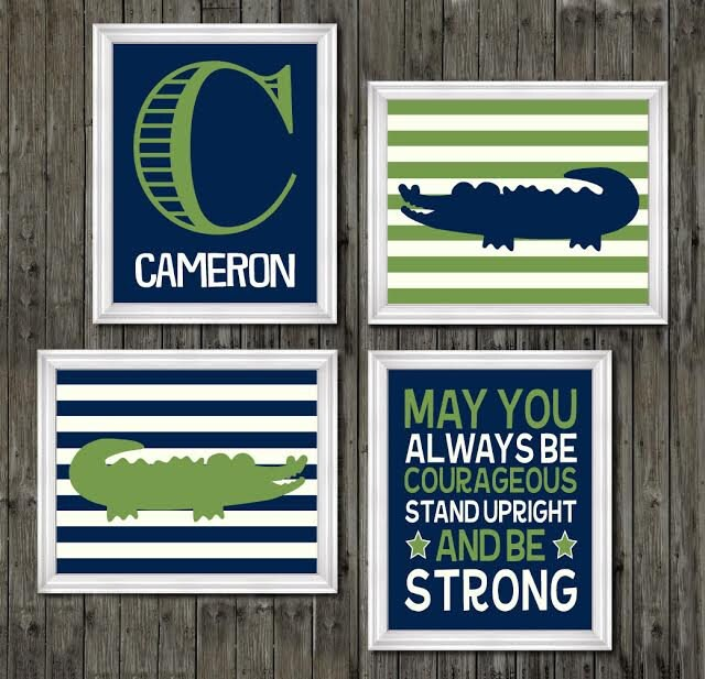 Navy Blue And Green Wall Decor : Alligator wall decor navy blue and green nursery gator