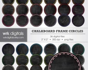 Chalkboard Circle Frame Clip Art Digital Pack, Digital Scrapbooking, Instant Download