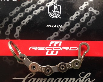 Campagnolo Record 11 Bicycle Chain Keyring with Carabiner and Split Ring.