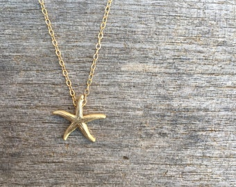 Gold Starfish Necklace - Gold Necklace -Beachy Necklace- Starfish Necklace - Beach Inspired Necklace - Simple Necklace - Beach Necklace