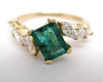 Fine Vintage Handmade Green Emerald & Marquise Cut Diamond Ring 14k Yellow Gold 1.10ct