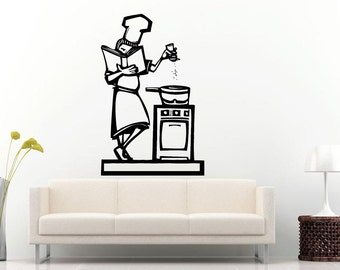 Cook Following A Recipe Of The Book Cooking On The Stove Kitchen Dining Wall Decal Vinyl Sticker Mural Room Decor L777