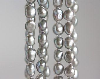 1374_Gray pearls 9-11 mm, Big pearls, Rice pearls, Natural pearls, Freshwater pearls, Grey pearls, Pearls rice, Pearl strand, Large pearls.