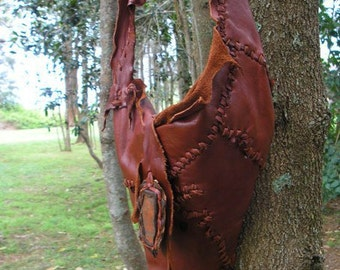 Leather of Deer Bag  Hand Stitched and Moulded