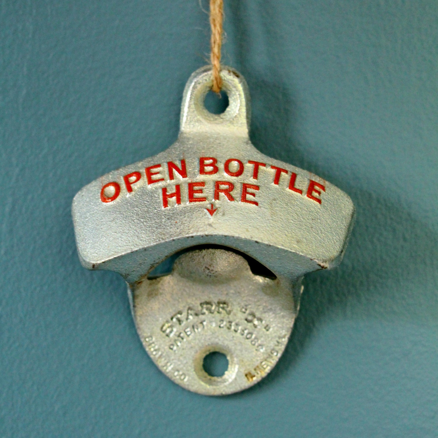 vintage wall mounted starr bottle opener by glassymountaincurios. Black Bedroom Furniture Sets. Home Design Ideas