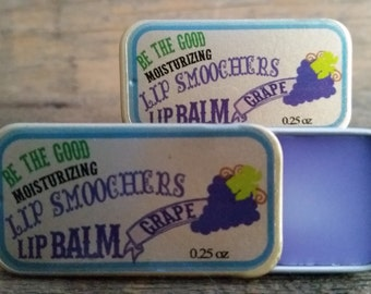 "Grape Lip Balm -- New Lip Balm Line!  All Natural ""LIP SMOOCHERS"" Lip Balm"