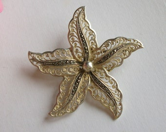 Vintage Silver Marcasite Brooch, Flower Brooch, Filigree Brooch, Vintage Wedding, Gift