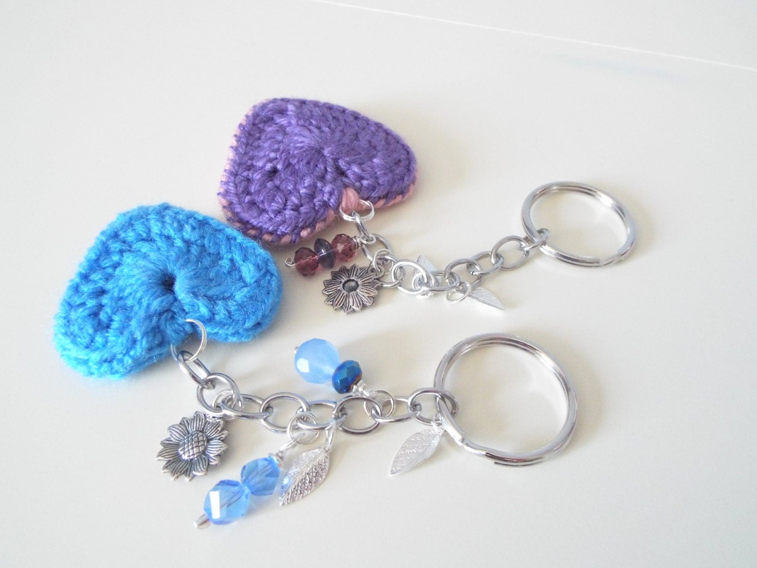 Crochet heart keychain Keyring Small by CrochetToysCorner on Etsy
