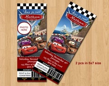 Disney Cars Birthday Invitation. Disney Cars Invitation. Ticket Style. Digital (you print) With or Without Photo