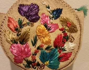50's Vintage Straw Handbag