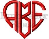 Heart Monogram Font Machine - INSTANT DOWNLOAD - 6 sizes