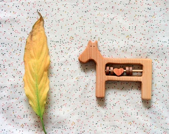 Teether Horse / Wood Rattle Horse/ Baby toys Handmade/ Wooden Horse