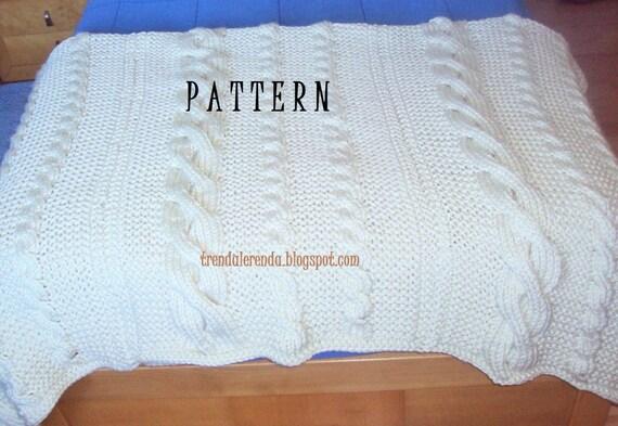 Patrón manta de trenzas tejida a dos agujas. Descarga instantánea, en inglés y español