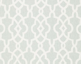 SCHUMACHER CHINOISERIE FRETWORKS Trellis Linen Fabric 10 yards Mineral