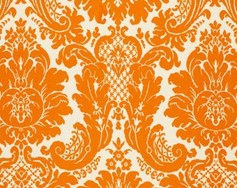 SCHUMACHER LOTUS MEDALLIONS Woven Damask Fabric 10 yards Tangerine