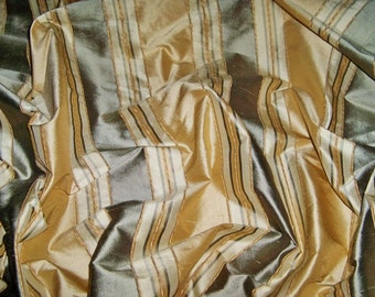TAPESTRIA MONTEL Stripes SILK Damask Fabric 10 yards Gold Buttercream Olive Green