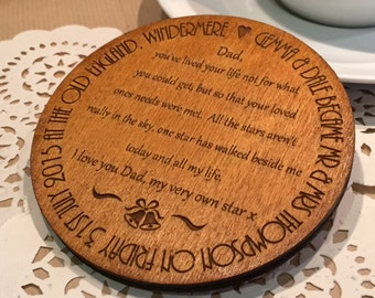 Personalised Father of the Bride Coaster