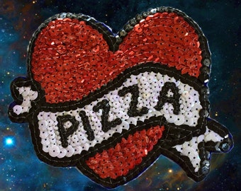 Love Pizza Heart Sequin Patches