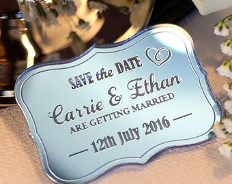 Personalised Vintage Save The Date Magnets, Custom save The Date, Wedding Magnets, Silver, Blue, Pink Mirror, Wooden Personalized magnets