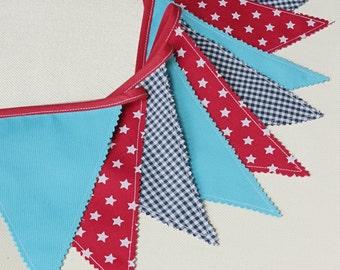 Fabric Banner, Baby Garland, Bunting Flags, Nautical Nursery, Star Banner, Baby Shower