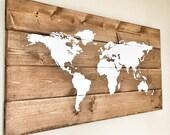 Rustic Wood World Map, Rustic Decor, Farmhouse Decor, Rustic Nursery Decor, Wall Decor, Wooden White World Map - 26 x 14