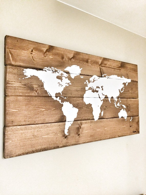 rustic wood world map rustic decor farmhouse decor rustic. Black Bedroom Furniture Sets. Home Design Ideas