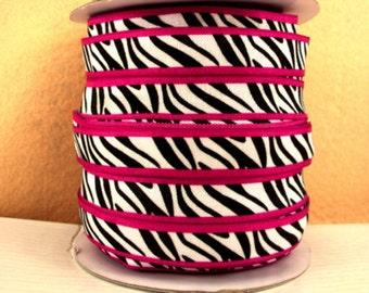 5/8 inch - Black  and White Zebra On Hot Pink Border- Fold Over Elastic FOEfor Headband