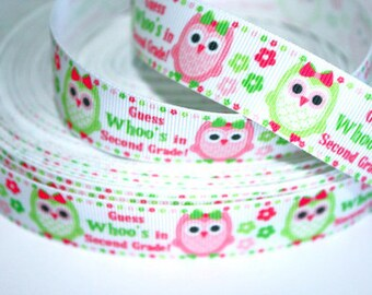 7/8 inch Guess Whoo's in 2nd Grade - Second - School - Owl - Printed Grosgrain Ribbon for Hair Bow
