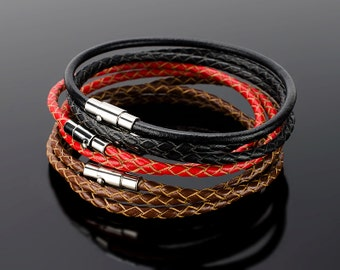 Mens bangles - Mens bangle bracelets with real stainless steel clasp. Reliable fixation, good skin, minimalistic design!