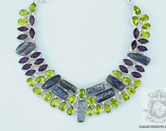 Shades of Blue and Lime Green! Carved Kyanite Leaves PERIDOT LAVENDER AMETHYST 925 Solid Sterling Silver Necklace n361