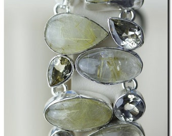 Excellent Quality! RUTILE Rutilated Quartz Citrine 925 Solid Sterling Silver Bracelet & FREE Worldwide Shipping B1034