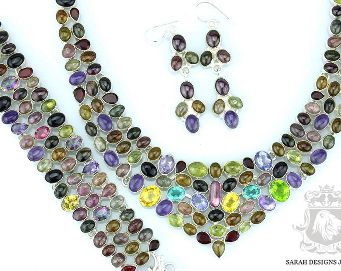 GENUINE WATERMELON TOURMALINE 925 Solid Sterling Silver Necklace Set 140