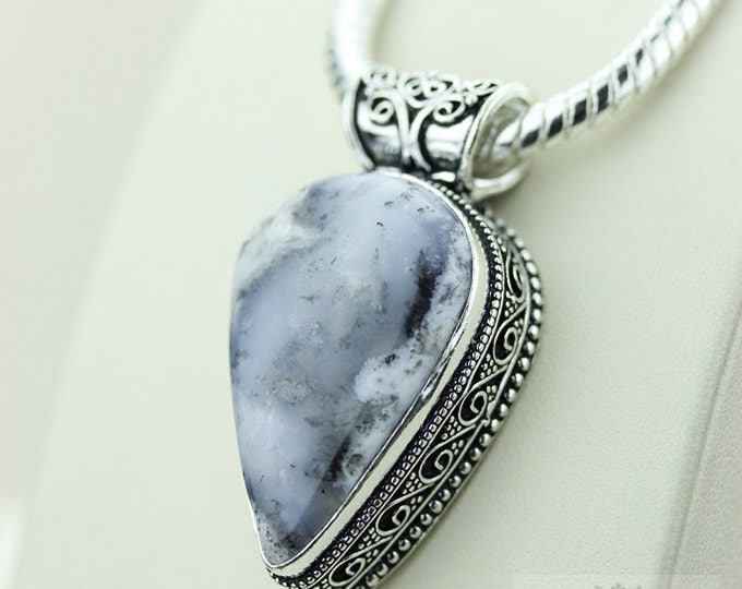 DENDRITIC AGATE with Rounded Bail 925 S0LID Sterling Silver Vintage Style Setting Pendant + 4mm Snake Chain & Free Worldwide Shipping p2549