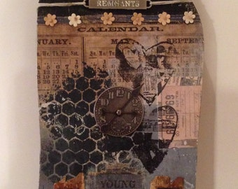 Altered Art House Wooden with Tim Holtz Embellishments and Old Book Mixed Media Collage Art Black and Denim Blue One of a Kind Art Piece