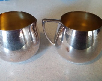 Silver Plate Cream and Sugar Set