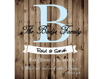 Custom Family Established or Wedding Print - Printable