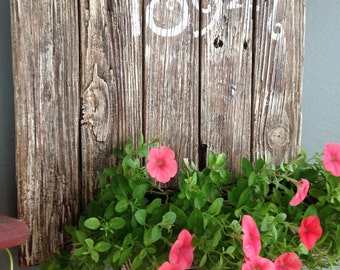 Rustic Reclaimed Wood Plant Holder w/Address-Name-Welcome Stenciled