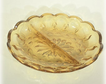 Glass Relish Dish, Fairfield 2 part, Amber Relish Dish, Anchor Hocking, Yellow Relish Dish, Amber Divided Bowl, Relish Tray