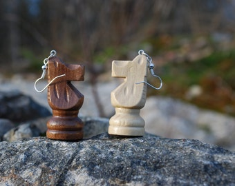 Chess earrings of a recycled board game, chess piece, horse earring, retro earring- one for the price