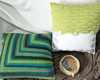 Green Multi Colour Crochet Featured Cushion Cover