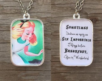 Alice in Wonderland-Impossible Things Reversible Pendant Necklace