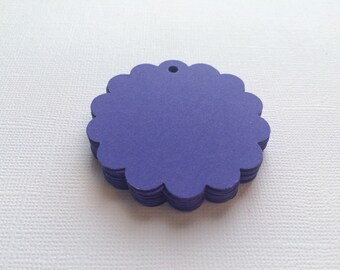 25 Navy Blue Scallop Circle Hang Tags, Gift Tags, Party Favor - 2""