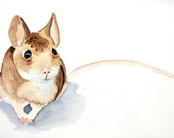 mouse original watercolor painting mouse painting woodland animal painting nursery wall art approx.23,7x16cm (9.48x6.44inch)