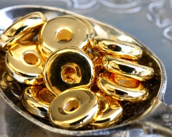 24K Gold Plated Round Washers Shiny Disc Spacers 8 mm Mykonos Greek Metal Plated Ceramic 10/25/50Pcs - MK72