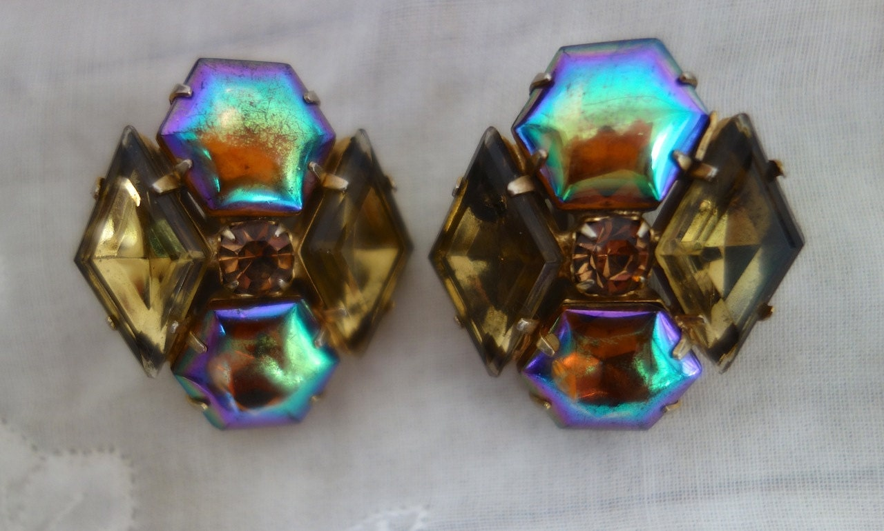 shiny midcentury iridescent gemstone clip on earrings