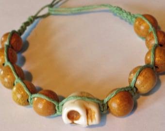 Skull & Wooden Bead Bracelet