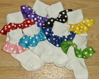 Ruffle Socks CUSTOM BOUTIQUE Toddler Girls Polka Dot Ruffle Socks Disney Dots Girls Fancy Dress Up Party - You Choose Size and Pattern